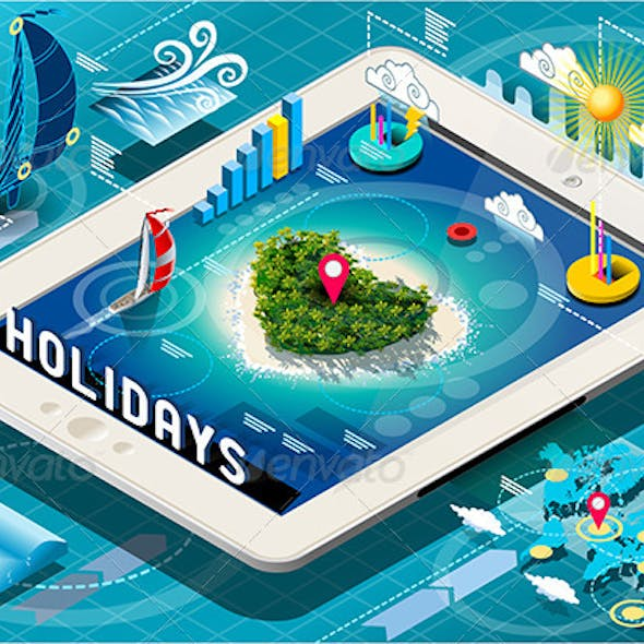 Isometric Holidays Infographic on Mobile Tablet