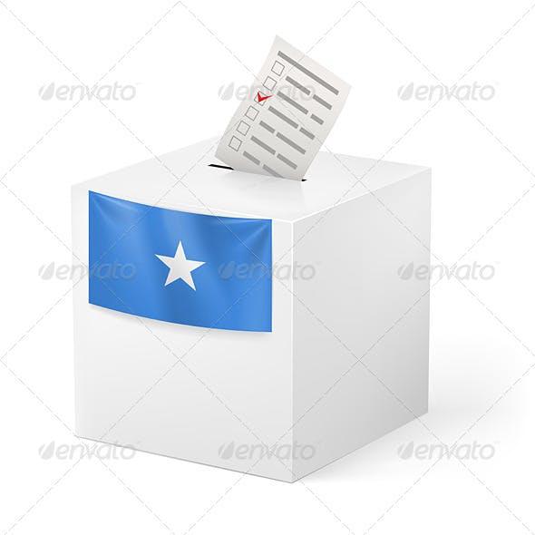 Ballot Box with Voting Paper. Somalia