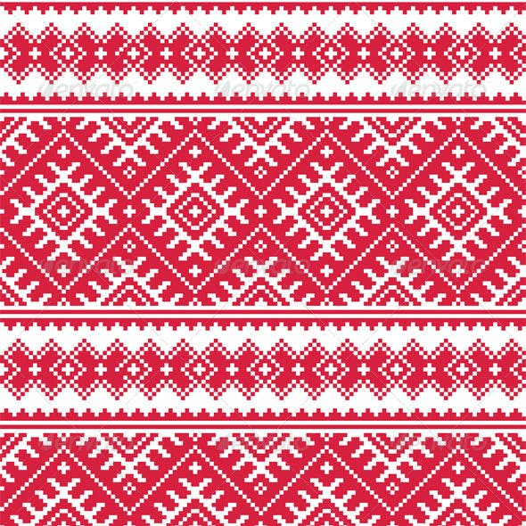 Ukrainian Red Seamless Folk Embroidery Pattern