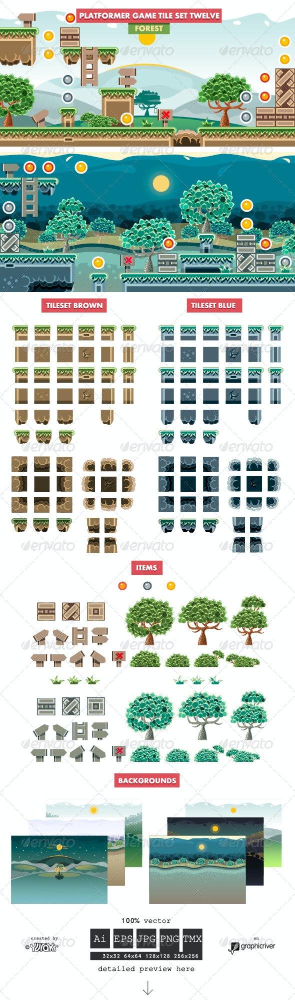 Platformer Game Tile Set Twelve - Landscapes Nature