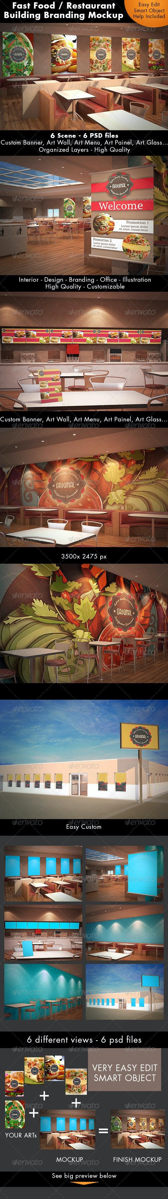Fast Food Building Branding Mockup - Logo Product Mock-Ups