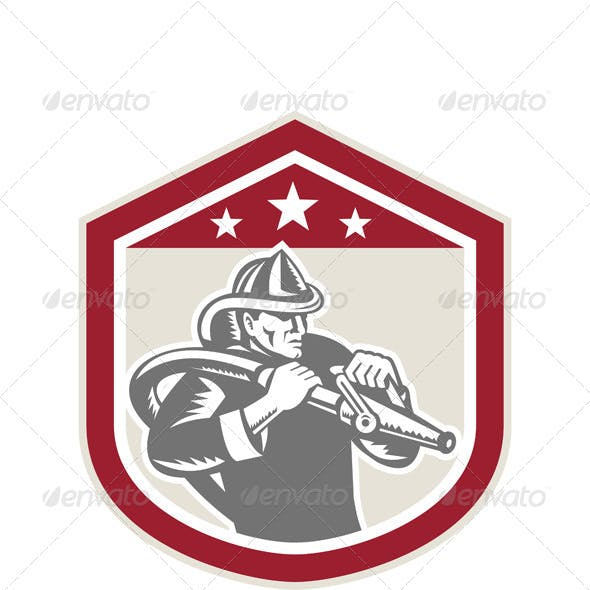 Retro Firefighter Shield with Hose