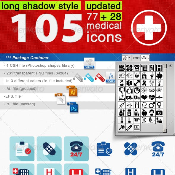 105 Medical Icons Set