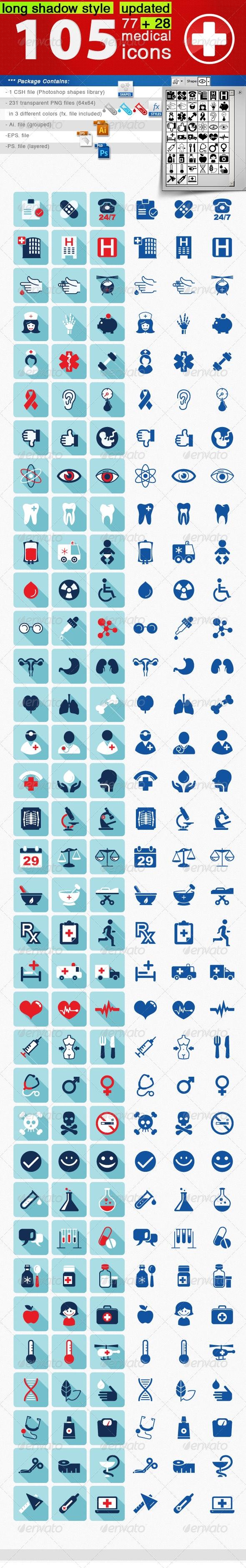105 Medical Icons Set - Icons