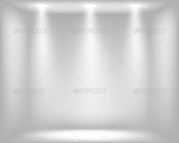 Abstract Light Grey Background with Spotlights - Abstract Conceptual