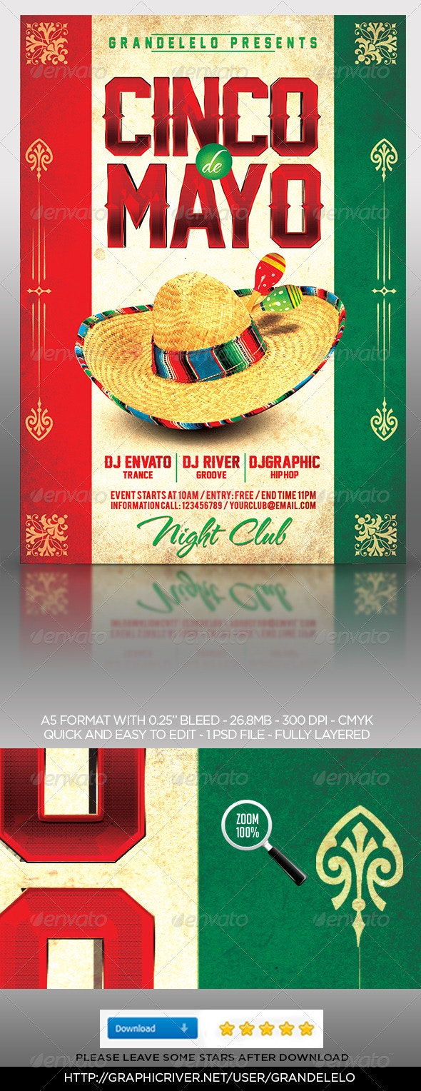 5 de Mayo Poster Template - Clubs & Parties Events