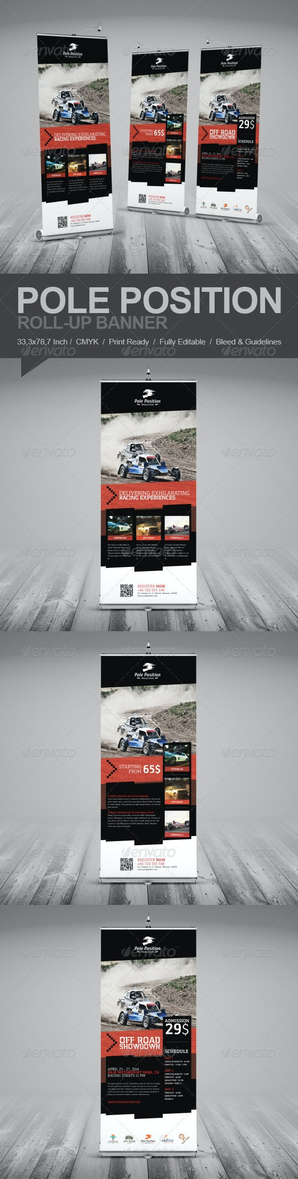 Racing School Roll-Up Banner - Signage Print Templates