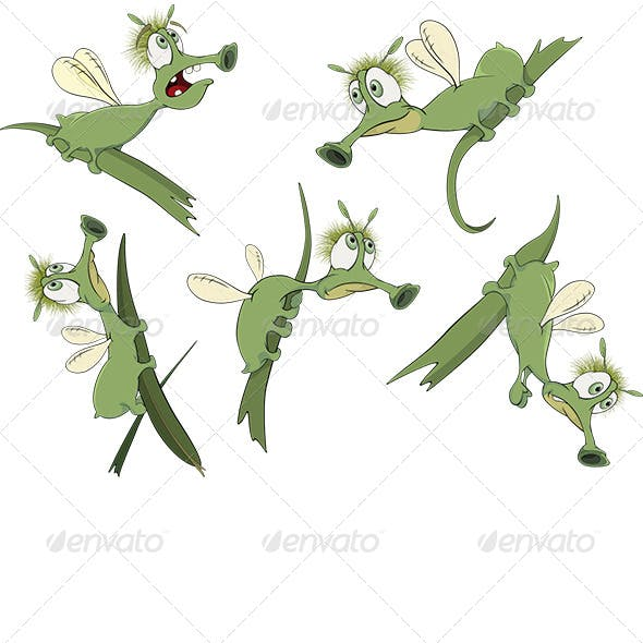 Green Cartoon Insects