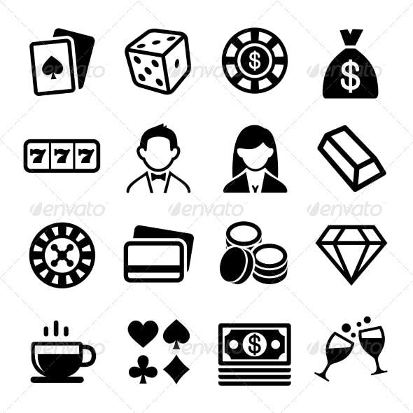 Gambling and Casino Icons Set. Vector