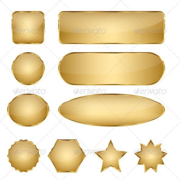 Blank Elegant Golden Vector Web Buttons