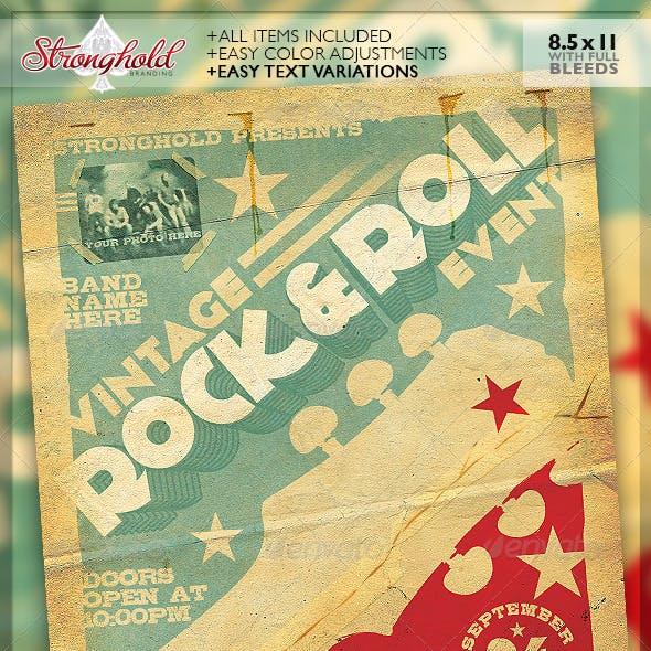 Vintage Rock & Roll Concert Flyer Template