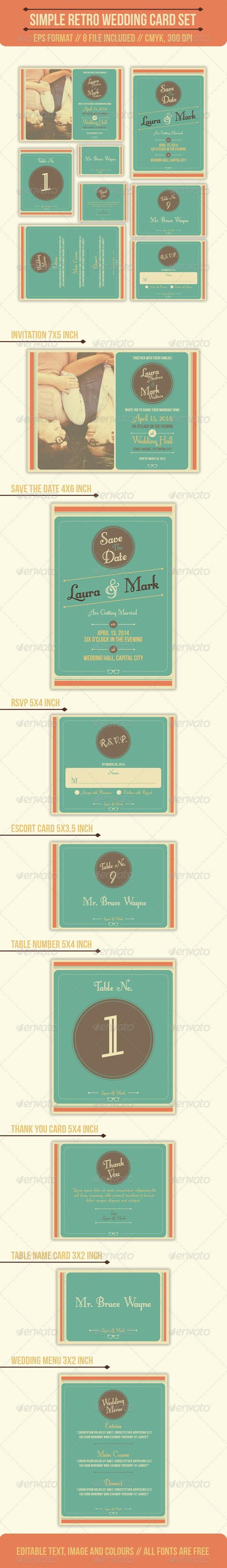 Simple Retro Wedding Card Set - Weddings Cards & Invites