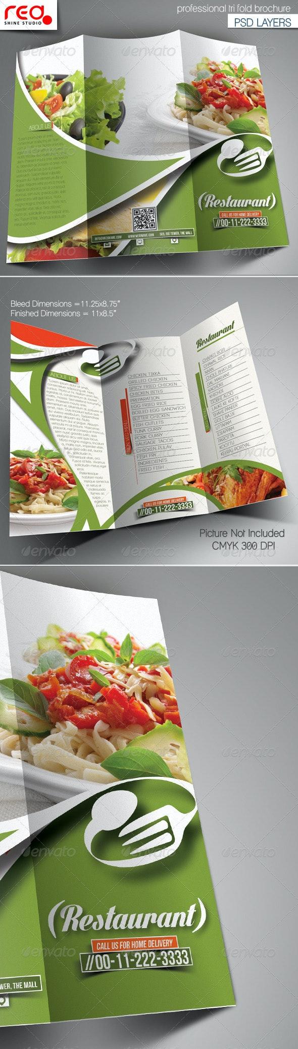 Restaurant Trifold Brochure Template - Catalogs Brochures