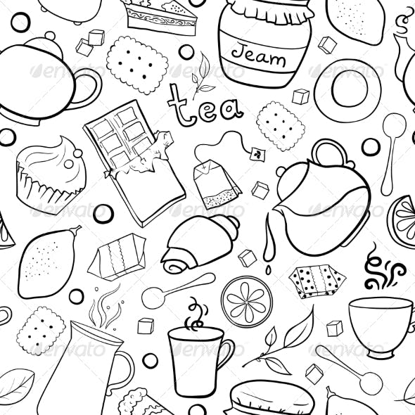 Tea and Sweets Black and White Seamless Pattern
