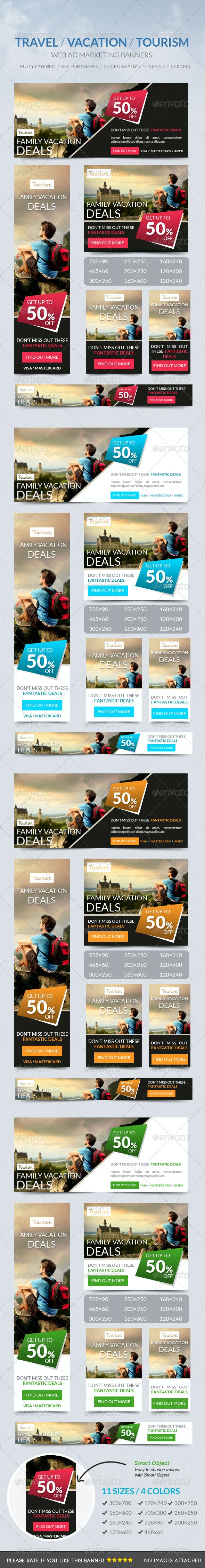 Travel Vacation Tourism Banner - Banners & Ads Web Elements