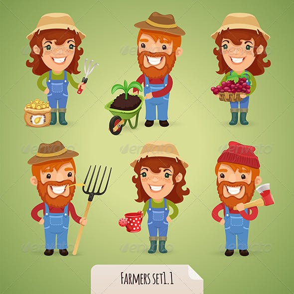 Farmers Cartoon Characters Set 1.1