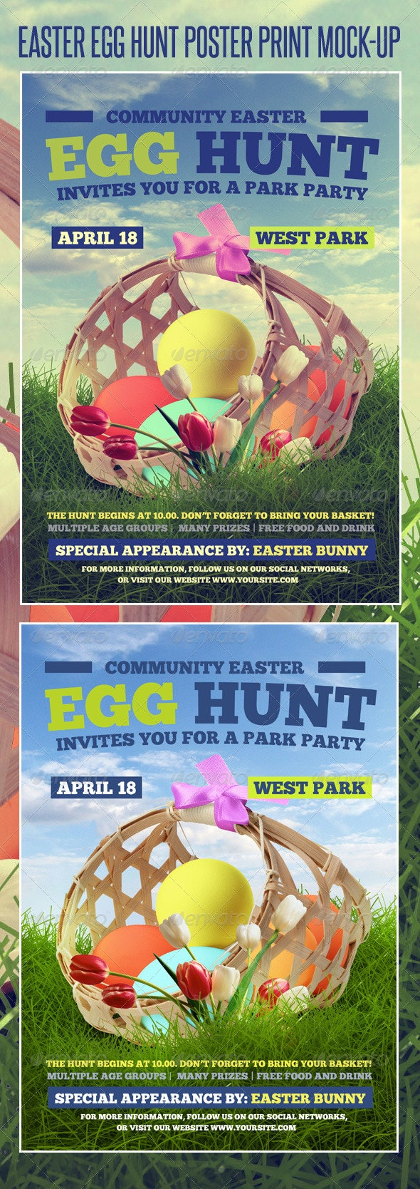 Easter Egg Hunt Poster Print Template - Holidays Events