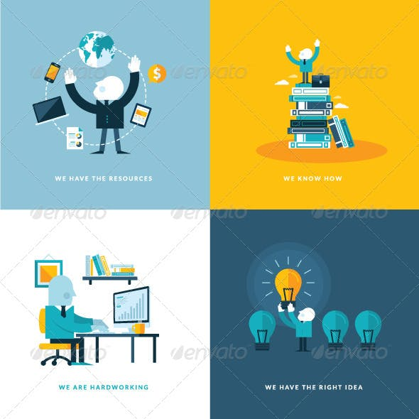 Flat Design Concept Icons for Business