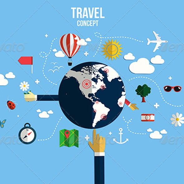 Modern Vector Illustration Icons Set of Traveling