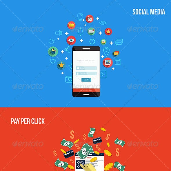 Icons for Pay Per Click and Social Media