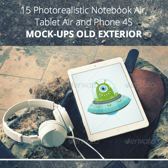 15 Photorealistic Devices in Old Exterior Mock-Ups