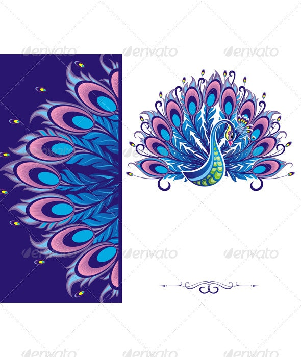 Peacock Card - Animals Characters