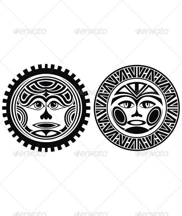 Tattoo Styled Masks - Decorative Symbols Decorative