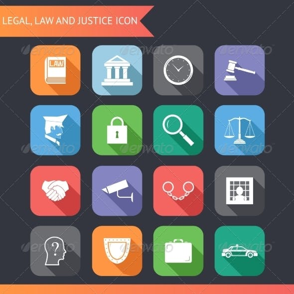 Flat Law Legal Justice Icons and Symbols Vector Il