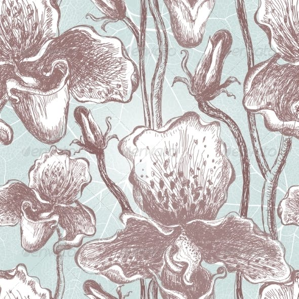 Seamless Orchid Floral Pattern. Vector, EPS10