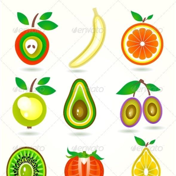 Illustration of Stylized Cut Fruits