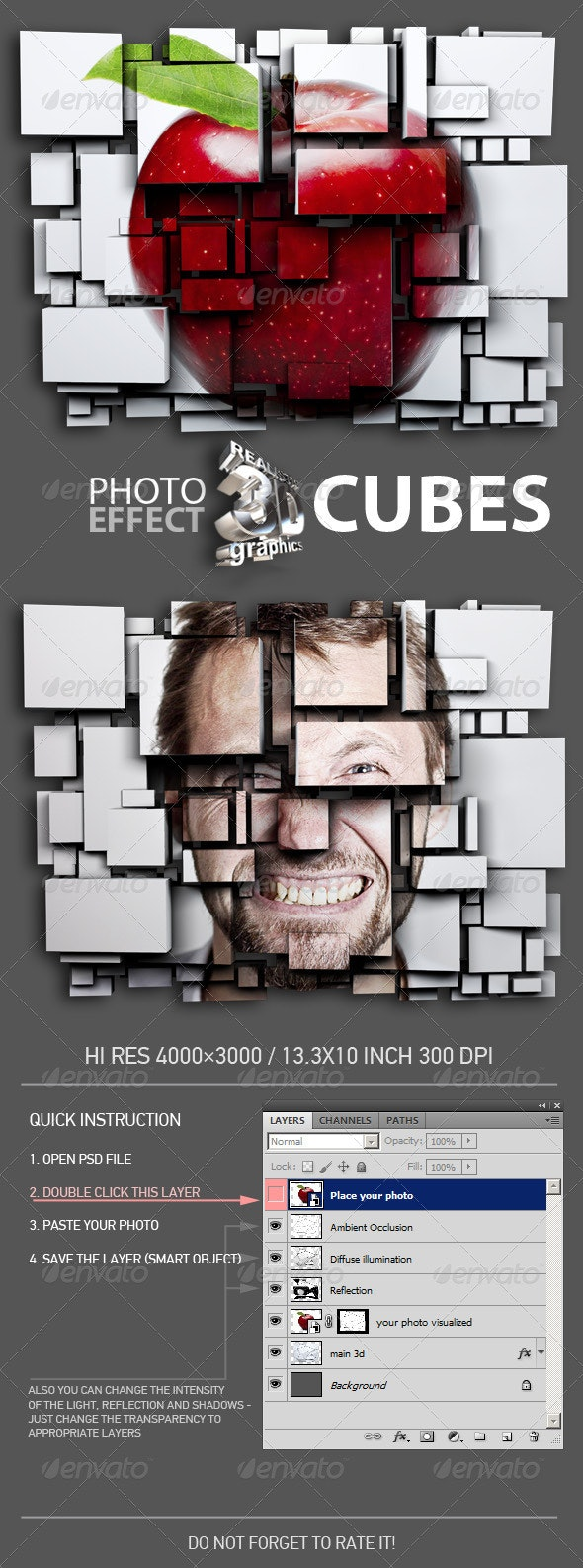 3D Cubes Photo Effect - Miscellaneous Photo Templates