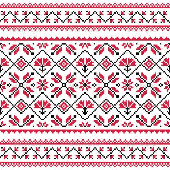 Ukrainian Slavic Folk Knitted Red Emboidery Print