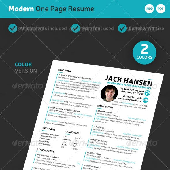 Modern One-Page Resume