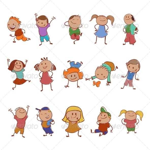 Collection of Icons with the Children - People Characters