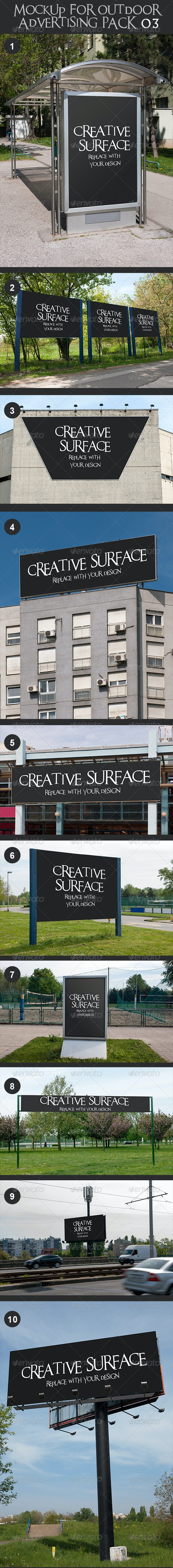 10 Mock Up's for Outdoor Advertising Pack 3 - Signage Print