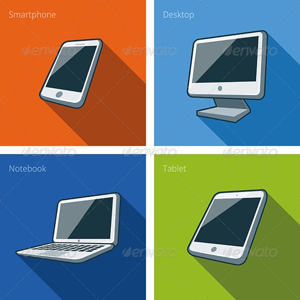 Screen Computer Devices Illustration with Smartphone - Technology Conceptual