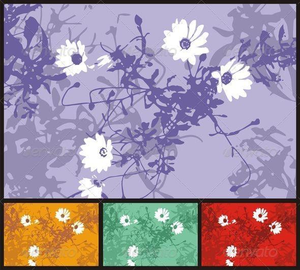 Grunge flowers background - Backgrounds Decorative