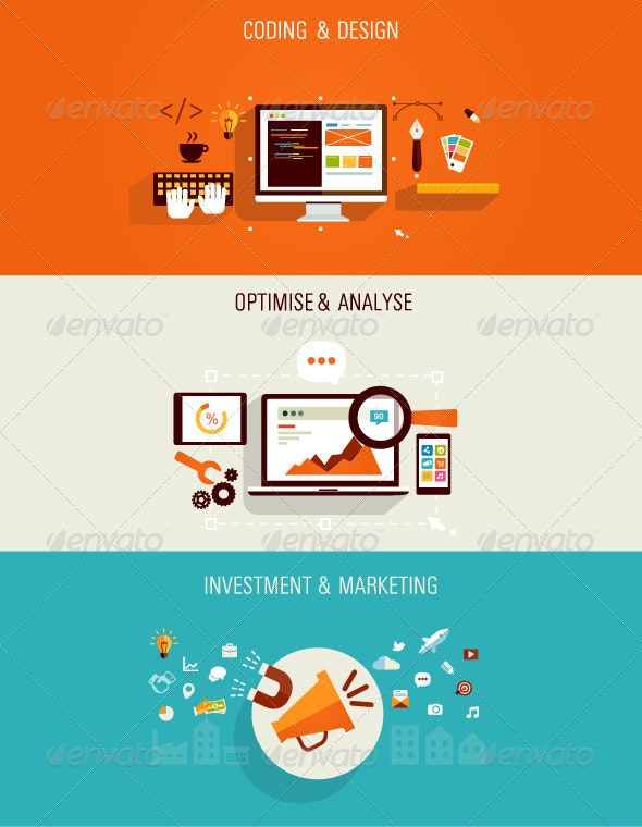 Web Development and Internet Marketing Concept - Conceptual Vectors