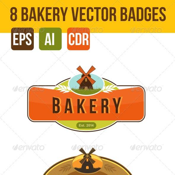 8 Bakery Vector Logo Badges