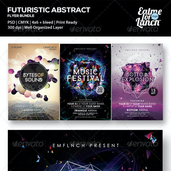 Futuristic Abstract Electronic Vol.2 Flyer Bundle