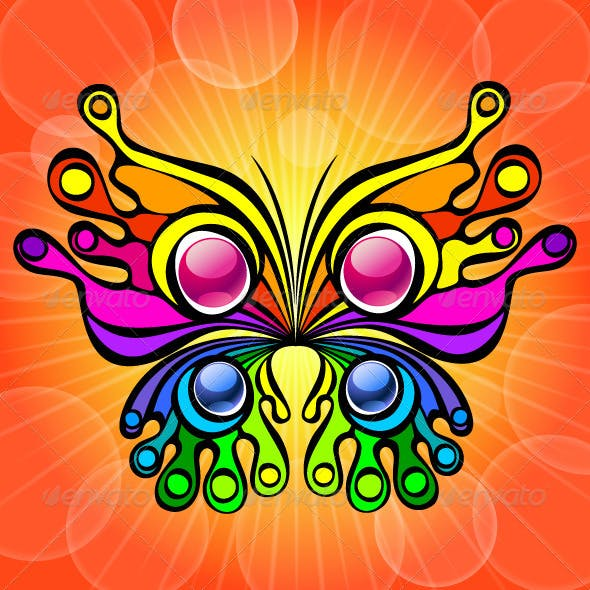 Colorful Butterfly on Orange Background