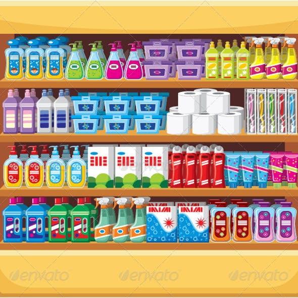 Shelves with Household Chemicals