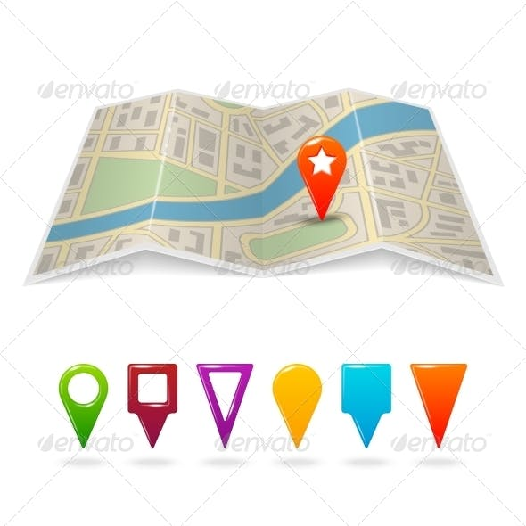 City Map with Pins