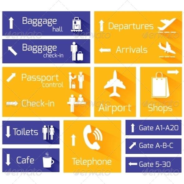 Airport Navigation Infographic Design Elements