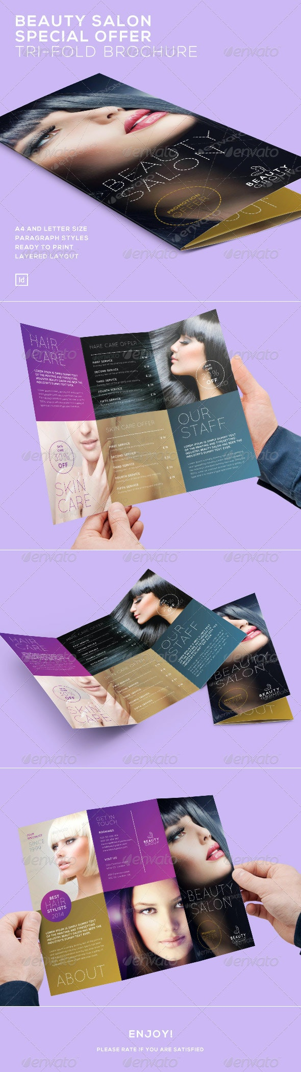 Beauty Salon Special Offer - Tri-Fold Brochure - Brochures Print Templates
