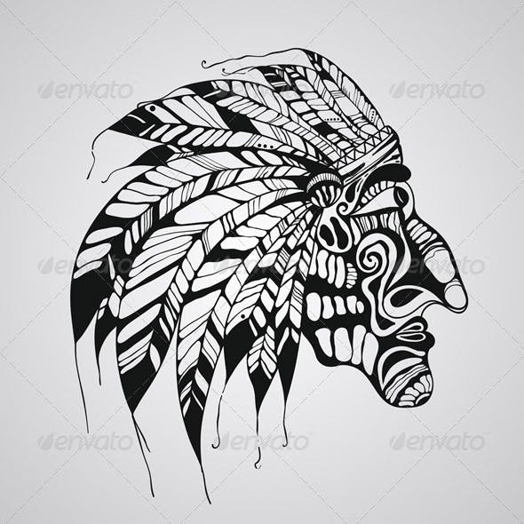 Tattoo of Native American Indian Chief