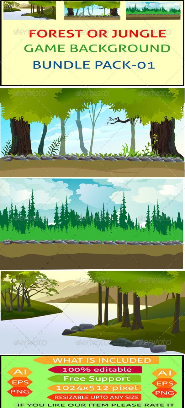 Forest or Jungle Game Background Bunddle - Backgrounds Decorative