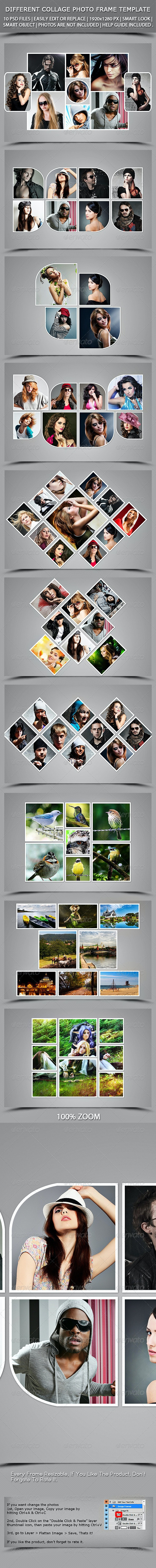 Different Collage Photoframe Template - Photo Templates Graphics