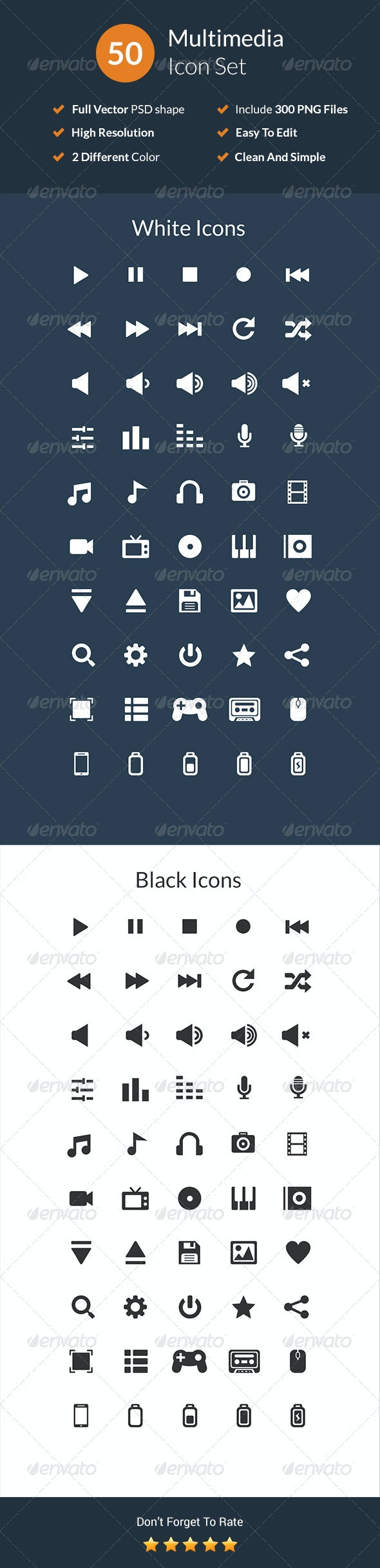 50 Multimedia Icon Set - Media Icons