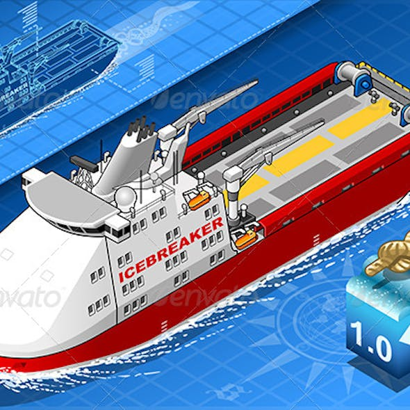 Isometric Icebreaker Ship in Navigation in Front